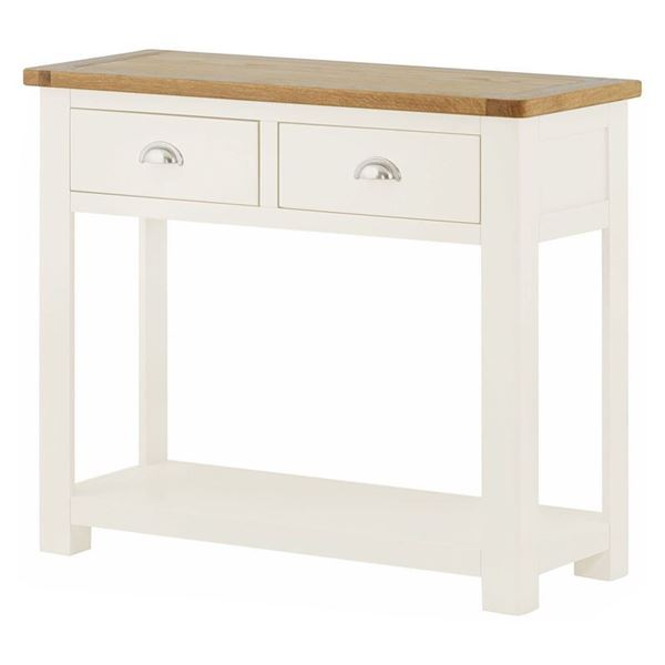 Remarkable Florence White Painted Two Drawer Console Table With Oak Top Beutiful Home Inspiration Xortanetmahrainfo